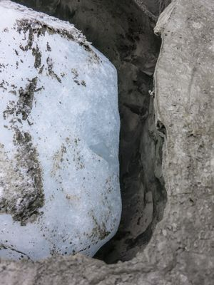 Ice melting within a concrete block. Working process for The presence of absence (Nuup Kangerlua, 24 September 2015 #1)