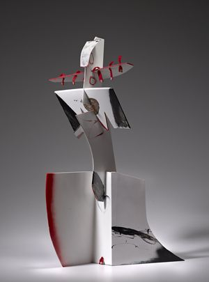 OLIVER LEE JACKSON Striding Figure, 2004 Steel, mixed media. 42 × 18 × 24 1/2 in 106.7 × 45.7 × 62.2 cm