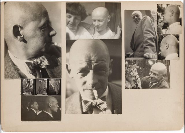 Josef Albers (American, born Germany, 1888–1976). Oskar Schlemmer; [Schlemmer] in the Master's Council; [Schlemmer] with Wittwer, Kallai, and Marianne Brandt, Preliminary Course Exhibition; [Schlemmer] and Tut. 1928–30/32. Gelatin silver prints mounted to board, overall 11 5/8 × 16 3/8″ (29.5 × 41.6 cm). The Museum of Modern Art, New York. Acquired through the generosity of Jo Carole and Ronald S. Lauder, and Jon L. Stryker