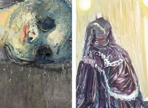 Elena Balsiukaitė-Brazdžiūnienė, Asteroid, 2014, Oil and Acrylic on canvas (left, detail) and Aušra Vaitkūnienė, Lady from the museum, 2018, Oil on canvas (right, detail)