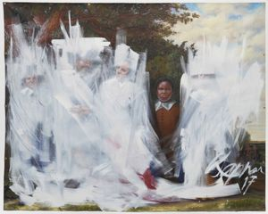 Titus Kaphar (American, born 1976). Shifting the Gaze, 2017. Oil on canvas, 83 × 1031/4 in. (210.8 × 262.3 cm). Brooklyn Museum, William K. Jacobs Jr., Fund, 2017.34. © Titus Kaphar. (Photo: Courtesy of Jack Shainman Gallery)