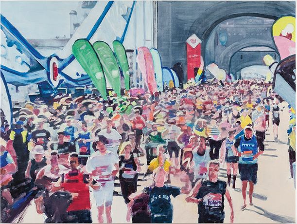 Oona Hassim, 'London Marathon 2014', 91 x 122cm, Oil on canvas