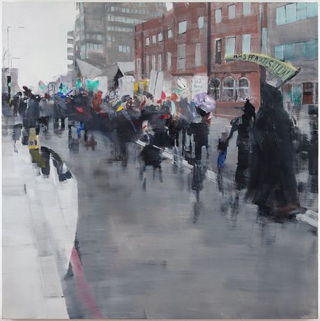 Oona Hassim, 'Save the Whittington Demo 2014'', 122 x 122cm, Oil on Canvas