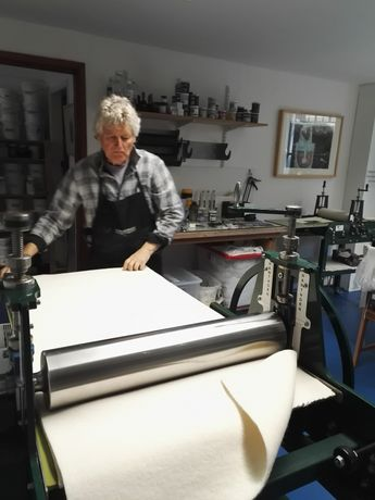 our large etching press with artist Rob Moore