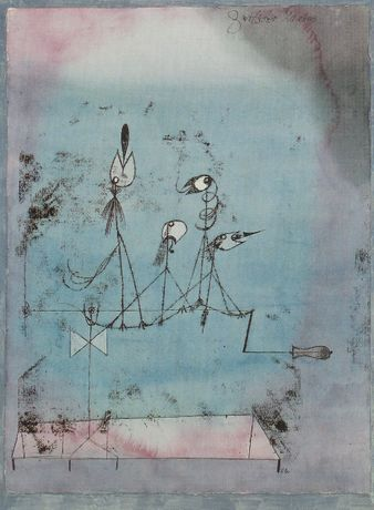 Paul Klee [1922] Twittering Machine (Die Zwitscher-Machine). Oil transfer drawing, watercolour and ink on paper with gouache and ink borders on board, 64.1 x 48.3 cm