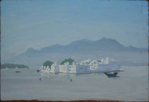 Tobit Roche, The Lake Palace, Udaipur, oil on board