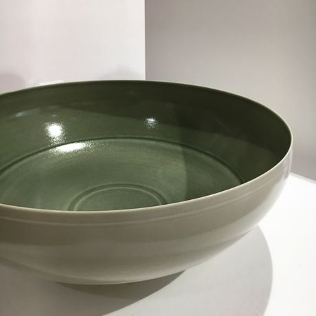 Large Porcelain Bowl with Celadon Green Interior by Anna Silverton