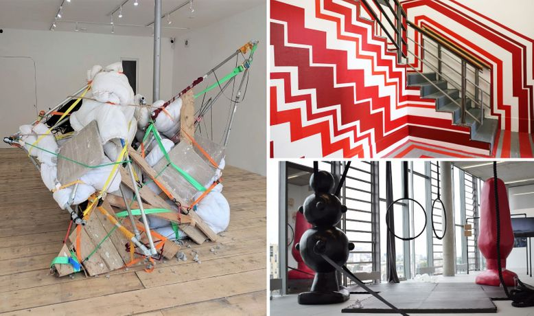 Marylyn Molisso – Snap, Crackle, Pop, 2019, Tension Fine Art Gallery; Greta Davies – unlike the space it was before, 2018, Slade Graduate Degree Show; Kate Howard – Apparatus, 2018, Photo: Dani Harvey.