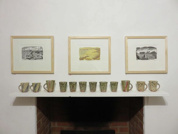 Neil Bousfield engravings, Jonathan Garratt ceramics