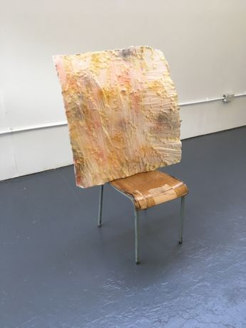 'Shoulders Back', Plaster, foam, spray paint, wooden/steel chair. 78  X 48 X 135 cm high. 2018