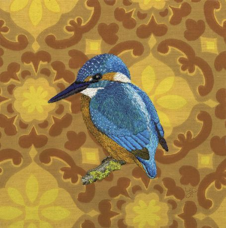 Kingfisher - hand embroidery on vintage fabric