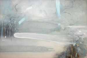 Bob Aldous 'Spring to Sea' Watercolour, ink, graphite and acrylic on silk 100 x 150 cm