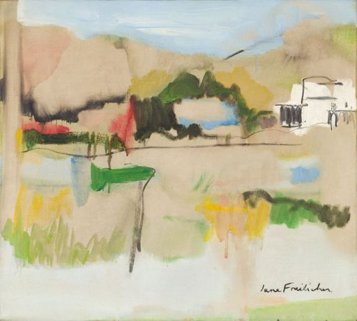 Jane Freilicher, Landscape in Water Mill, 1962, oil on linen, 18 x 20 inches, 45.7 x 50.8 cm. Courtesy of the Estate of Jane Freilicher and Kasmin Gallery.