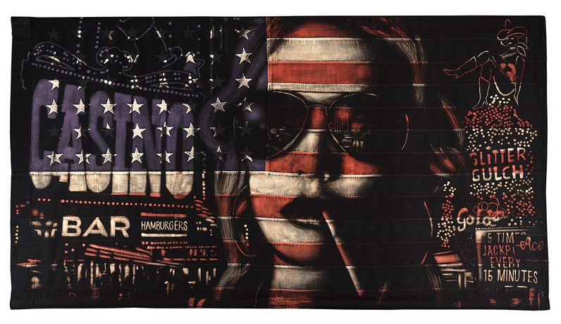 Pam Glew, CASINO, 149 x 85cm, Bleaching technique & Dye on vintage American flag