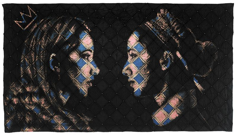 Pam Glew, SISTERS, 166 x 89cm, bleach & due on vintage quilt
