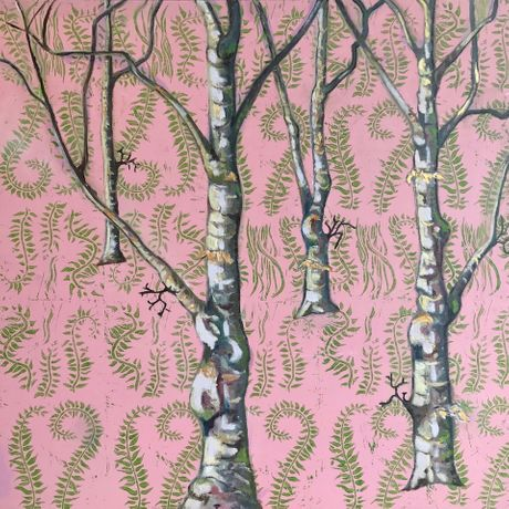'Birch on Pink' by Lucy Heath. 58 x 58 cm. Mixed media.
