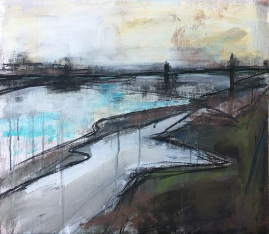 'The Thames at Putney' by Jessica Gale. 41 x 37cm. Acrylic and pastel on plywood.