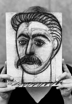 Lene Berg, Stalin by Picasso or Portrait of a Woman with Moustache, 2008. Façade-banner. Courtesy the artist.