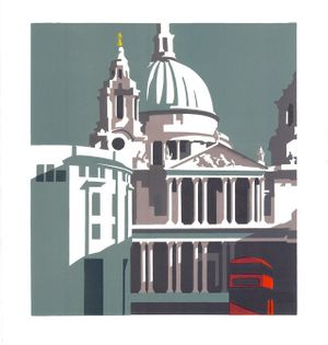 Paul Catherall, St Paul's at '15 Years of Linocuts' Exhibition