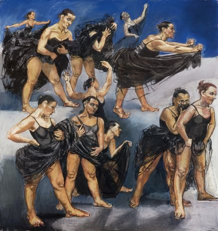 Paula Rego Dancing Ostriches,, 1995 Pastel on paper mounted on aluminium Left panel 162.5 × 155 cm; right panel 160 × 120 cm © Paula Rego Courtesy Marlborough International Fine Art