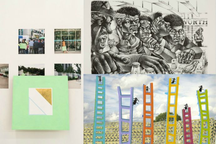 "Left: Doug Ashford, Photographs of Paintings Carried to Places where the Movement for Democracy in South Korea Happened, and Four Examples of what was Produced (2006), pigment and gold on wood, hardware, photographs, dimensions variable; Top right: Steve Prince, Salt of the Earth (2017), lithograph, 22""x30"";  Bottom right: Michelle Westmark Wingard, Allie Wingard, and Naomi Wingard, We Will Build Ladders 6 (2016), digital c-print, washi tape, permanent marker, 16x20"