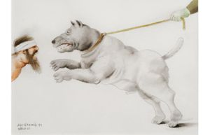 Fernando Botero: Abu Ghraib 79, 2005; watercolor on paper; 11 3/4 x 16 1/8 in.; BAMPFA, gift of the artist.