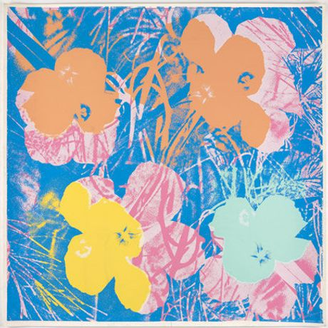 Andy Warhol Flowers, unique screenprint on white paper, 1970 © Anthony D'Offay, London and DACS, London.