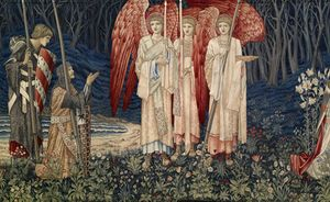 William Morris 'Holy Grail Tapestry - Quest for the Holy Grail Tapestries - Panel 6 - The Attainment; The Vision of the Holy Grail to Sir Galahad, Sir Bors and Sir Percival', wool, silk mohair and camel hair weft on cotton warp, 1895-1896 © Birmingham Museums Trust