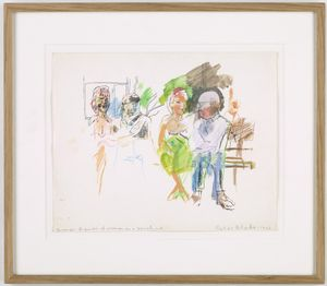 Peter Blake, bronze figures of women on a bench, L.A., 1963 pen, coloured pencil and watercolour on paper 10 x 12 1/2 in / 25.4 x 31.8 cm