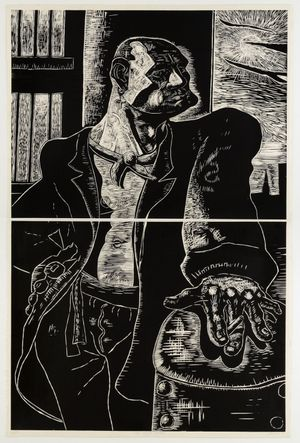 The Noble Dosser, 1988 - Two part woodcut