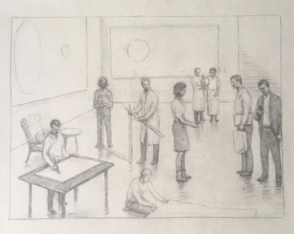 Peter Martensen, Sketch for The Studio 1, pencil on paper, 21 x 29 cm, 2020