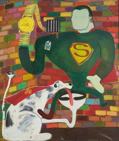 Peter Saul, Superman and Superdog in Jail, 1963, Oil on Canvas, 190,5 X 160 Cm, Collection of Kaws Photo: Farzad Owrang