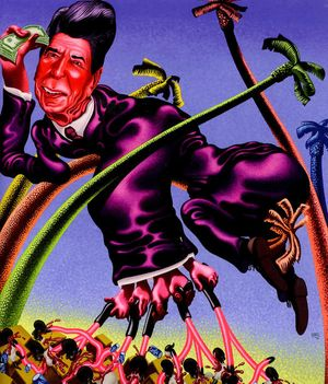 Peter Saul, Ronald Reagan in Grenada, 1984, 210 X 180 Cm, Acryl on Canvas © Hall Collection. Image Courtesy of Hall Art Foundation
