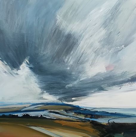 Sussex Downs, oil on canvas 100 x 100 cm