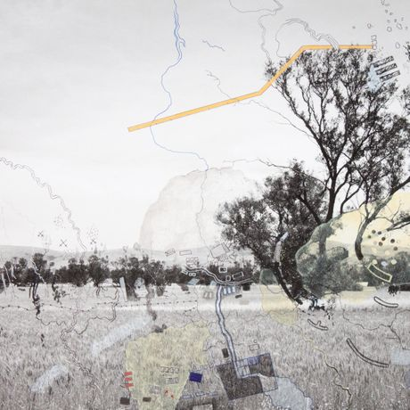 James Tylor and Laura Wills, The Forgotten Wars #1, 2017, Drawing on photographic paper, 50 x 50 cm, Unique. Courtesy of the artist and Vivien Anderson Gallery