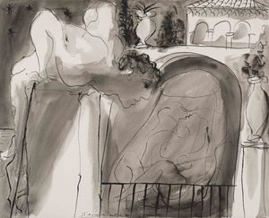 Pablo Picasso, Le Voyeur, 1 August 1933, pen and brush and ink on paper, 40.2 x 50.5 cm