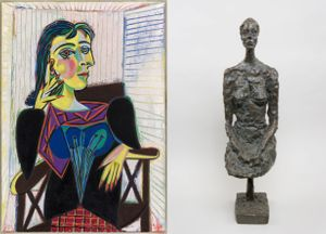 On the left : Pablo Picasso, Portrait de Dora Maar, Paris, 1937, Huile sur toile, Musée national Picasso-Paris © Succession Picasso 2016 On the right : Alberto Giacometti, Grande femme assise, 1958, Bronze, Fondation Giacometti, Paris © Succession Giacometti (Fondation Giacometti + ADAGP) Paris, 2016