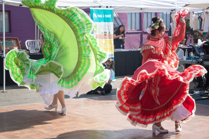 Mexican dancers from the Cabeza de Vaca Cultural Dance School. Pico Block Party, October 2017. Photo by Erica Rodriguez. Image courtesy 18th Street Arts Center.
