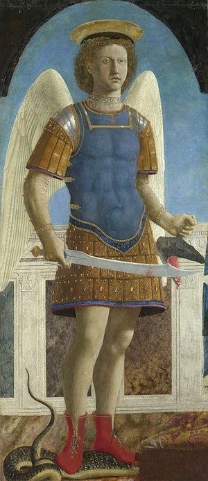 Image: Detail from Piero della Francesca, Saint Michael, completed 1469.