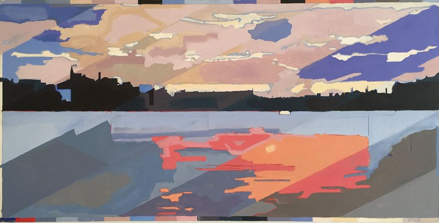 Dusk Wapping - oil on linen 122 x 60 cm
