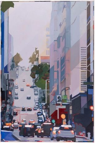 Downtown, One Way, oil on canvas, 122 x 183 cm