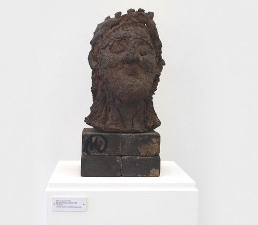 Markus Lüpertz (born 1941)  The Mycenaean smile  (or the young David), dated 1986  terracotta, with base H: 48, W: 23,  D: 26 cm