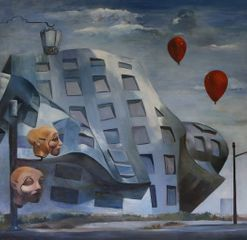 Mali Lasker,Red Balloones,Oil on Canvas,59.5''x59.5''