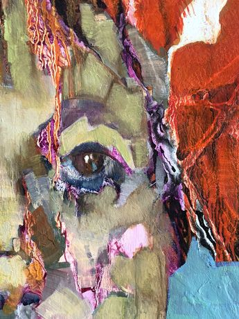 'Alicia' (detail) mixed media on paper on board 83cm x 63cm