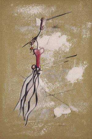 Tanguy Yves, Sans Titre, 1947, gouache, decalcomania and pencil on tinted paper, 47.5 by 31.5 cm.
