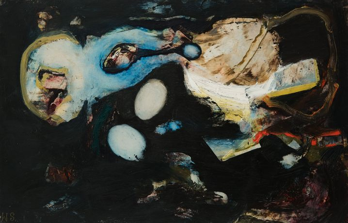 William Scharf 1927-2018 Night Move, 1964 Initialed lower left: W.S. Titled, dated, and signed veros: 'NIGHT MOVE' 1964 / WILLIAM SCHARF Oil on paper mounted to board 12 1/2 x 19 1/2 inches