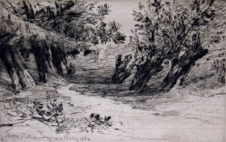 Sir Francis Seymour Haden PPRE, The Lover's Walk, no.II, 1864, drypoint