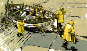 Wet Slipway, Linocut by H.J Jackson