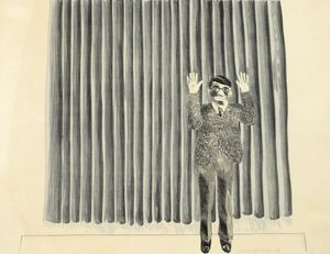 David Hockney, Figure by Curtain, 1964, Lithograph