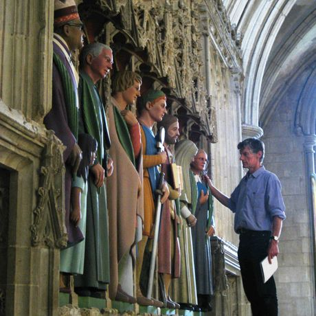 Rory Young with the St Albans Cathedral statues